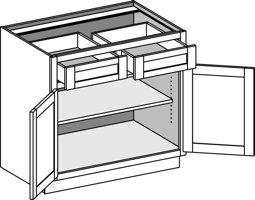 Kitchen cabinet drawer joints - Butt Door Base Cabinet W 2 Drawers