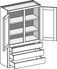 Wall Cabinet w/3 Drawers – Double Doors