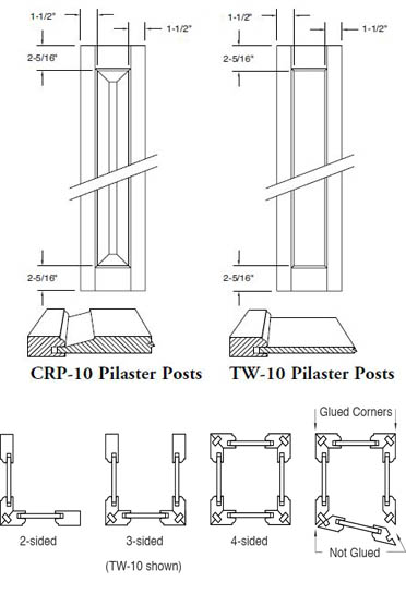 Door Pilaster Post Assembly \u2013 2 3 or 4 Sided \u2013 Raised or Flat Panel